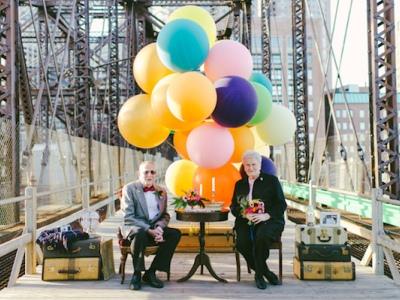銀髮 夫妻 的61周年 結婚紀念 寫真 ,溫馨再現 天外奇蹟 場景