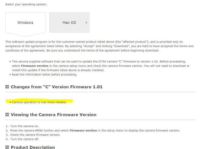 Nikon  Download center  D750 Firmware